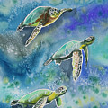 Watercolor - Sea Turtles Swimming by Cascade Colors