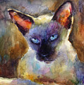Watercolor Siamese Cat Painting by Svetlana Novikova