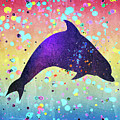 Watercolor Silhouette - Dolphin  Porpoise by Donald Erickson