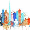 Watercolor Skyline Of Dubai by Dim Dom