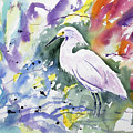 Watercolor - Snowy Egret by Cascade Colors