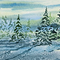 Watercolor - Snowy Winter Evening by Cascade Colors