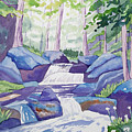 Watercolor - Summer Mountain Forest And Stream by Cascade Colors