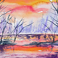 Watercolor - Sunrise At The Pond by Cascade Colors
