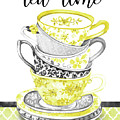 Watercolor Teacups-c by Jean Plout