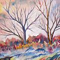 Watercolor - Trees And Woodland Meadow by Cascade Colors