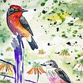 Watercolor - Vermilion Flycatcher Pair In Quito by Cascade Colors