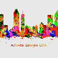 Watercolour Art Print Of The Skyline Of Atlanta Georgia Usa by Chris Smith