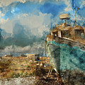 Watercolour Painting Of Abandoned Fishing Boat On Beach Landscap by Matthew Gibson