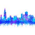 Watercolour Splashes And Dripping Effect Chicago Skyline by Georgeta Blanaru