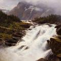 Waterfall In Norweigian Mountain Landscape by Themistokles von Eckenbrecher