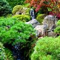 Waterfalls In Japanese Garden by Carol Groenen