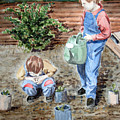 Watering The Plants by John Cox