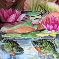 Waterlillies And Blue Giles by Bette Gray