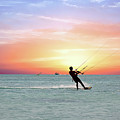 Watersport On Thecaribbean Sea At Aruba Island At Sunset by Nisangha Ji