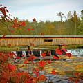 Watson Mill Covered Bridge Autumn by Reid Callaway