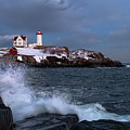 Wave Crash And The Nubble, Cape Neddick, York, Maine 21089-21093 by John Bald