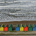 Waves And Beach Huts - Whitby by Rod Johnson