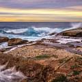 Waves Breaking Up On Rocks In Sydney Australia by David Trent
