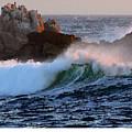 Waves Crash Against The Rocks by R Muirhead Art