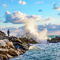 Waves Crashing And Fisherman On The Rocks Of Riomaggiore In Cinque Terre, Italy by Global Light Photography - Nicole Leffer