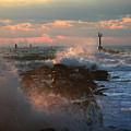 Waves Crashing Over The Jetty by Julianne Felton