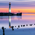 Wawatam Lighthouse In Colorful Predawn Light by James Brey
