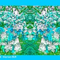 Waxleaf Privet Blooms In Aqua Hue Abstract With Aqua Frame by Marian Bell
