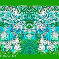 Waxleaf Privet Blooms In Aqua Hue Abstract With Green Frame by Marian Bell