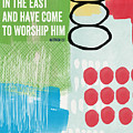 We Come To Worship- Contemporary Christmas Card By Linda Woods by Linda Woods