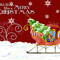 We Wish You A Merry Christmas - Santa's Sleigh With Snowflakes by Audrey Jeanne Roberts