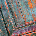 Weathered Orange And Turquoise Door by Carol Groenen