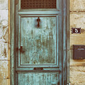 Weathered Teal Door In Issigeac France by Georgia Fowler