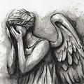 Weeping Angel Watercolor by Olga Shvartsur