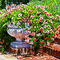 Welcome Flower Urn Steps by David Lloyd Glover
