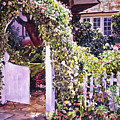 Welcome Rose Covered Gate by David Lloyd Glover