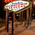 R.i.p. Welcome To Downtown Las Vegas Sign At Night by Aloha Art