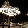 Welcome To Fabulous Las Vegas - Neon Sign In Sepia by Gregory Ballos