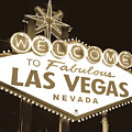 Welcome To Las Vegas Neon Sign In Sepia - Nevada Usa by Gregory Ballos