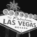 Welcome To Las Vegas Neon Sign - Nevada Usa - Black And White by Gregory Ballos