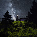 West Quoddy Head Lighthouse With Milky Way Starscape by Marty Saccone