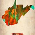 West Virginia Watercolor Map by Naxart Studio
