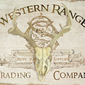 Western Range 3 Old West Deer Skull Wooden Sign Trading Company by Audrey Jeanne Roberts