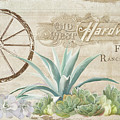 Western Range 4 Old West Desert Cactus Farm Ranch  Wooden Sign Hardware by Audrey Jeanne Roberts