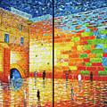 Western Wall Jerusalem Wailing Wall Acrylic Painting 2 Panels by Georgeta Blanaru