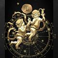 Western Zodiac - Golden Gemini - The Twins On Black Canvas by Serge Averbukh