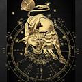 Western Zodiac - Golden Taurus - The Bull On Black Canvas by Serge Averbukh