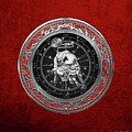 Western Zodiac - Silver Taurus - The Bull On Red Velvet by Serge Averbukh