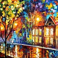 When The City Sleeps 2 - Palette Knife Oil Painting On Canvas By Leonid Afremov by Leonid Afremov