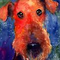 Whimsical Airedale Dog Painting by Svetlana Novikova